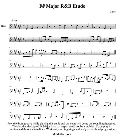 F# Major R&B Etude Notation